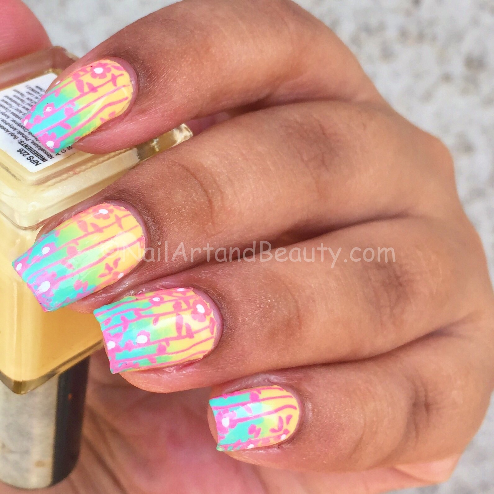 Stamped Florals on Soft Gradient