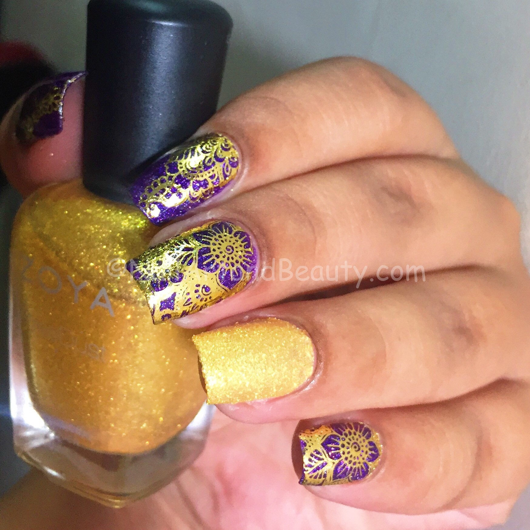 Arabesque Nails in Purple and Gold