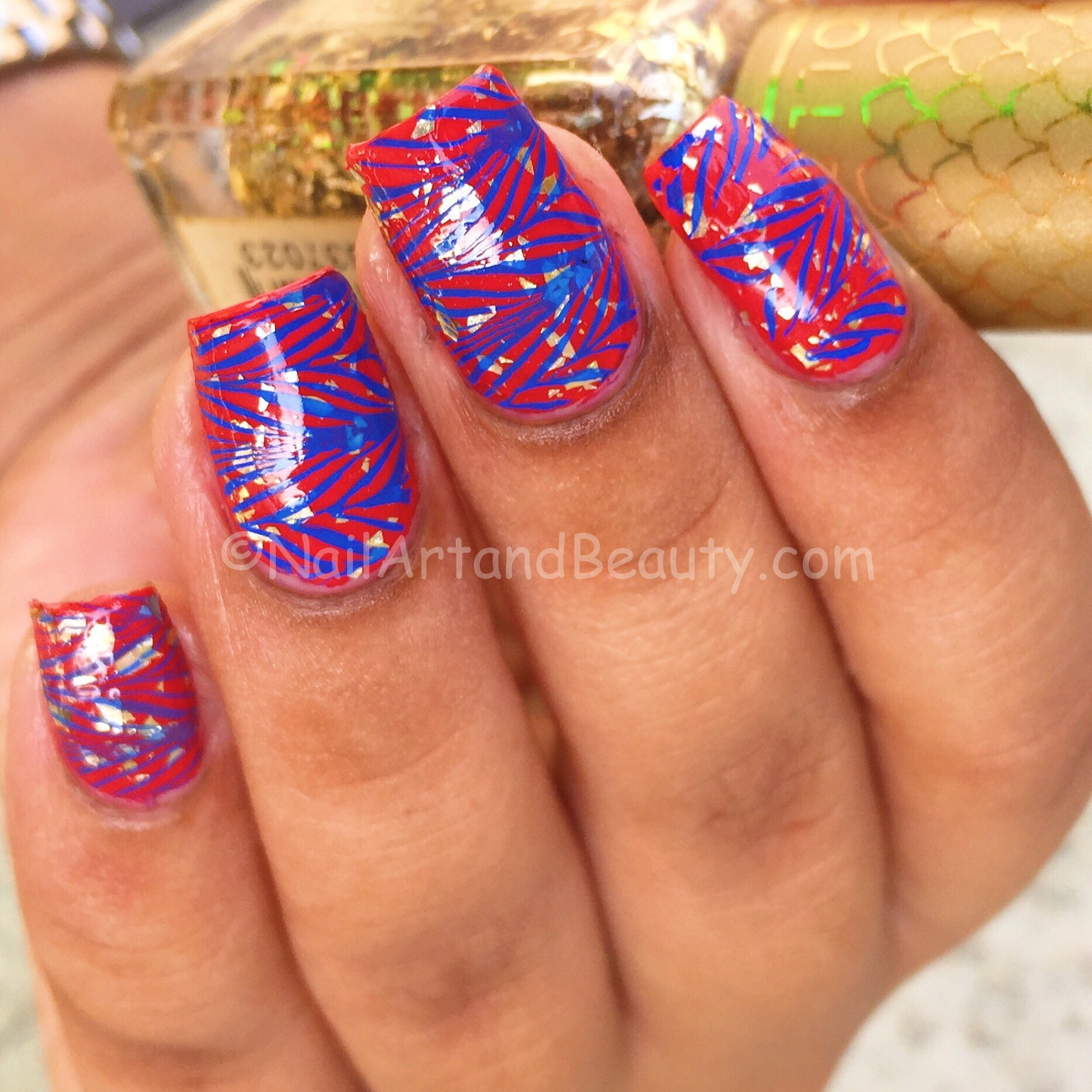 Red and Blue Faux Water Marble Nails