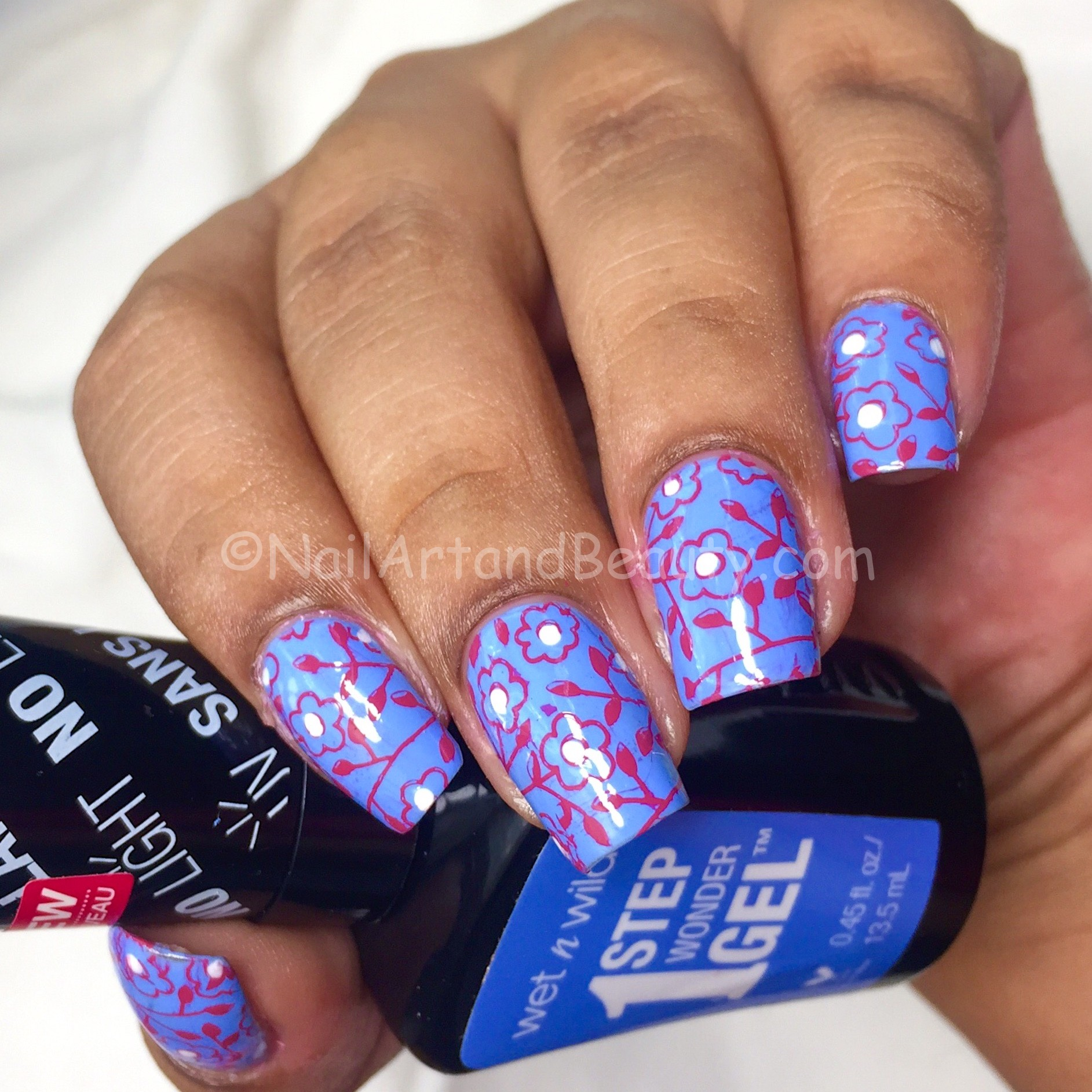 Floral stampimg on Periwinkle Blue