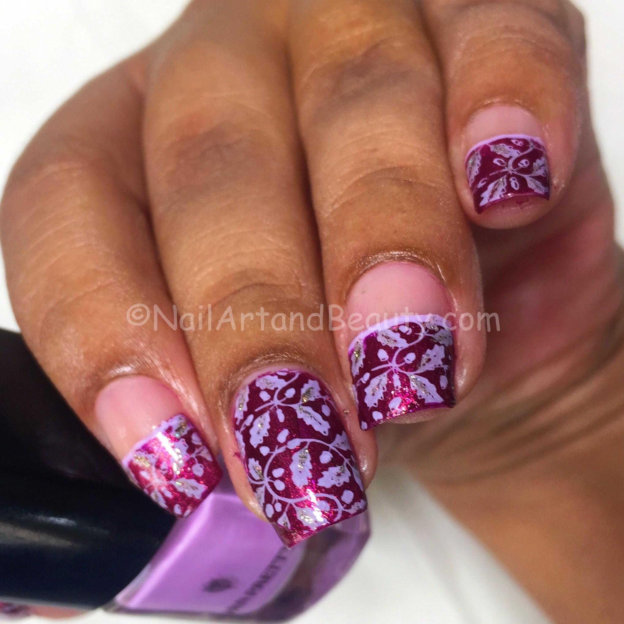 Purple Leaf Stamping on Zoya Britta