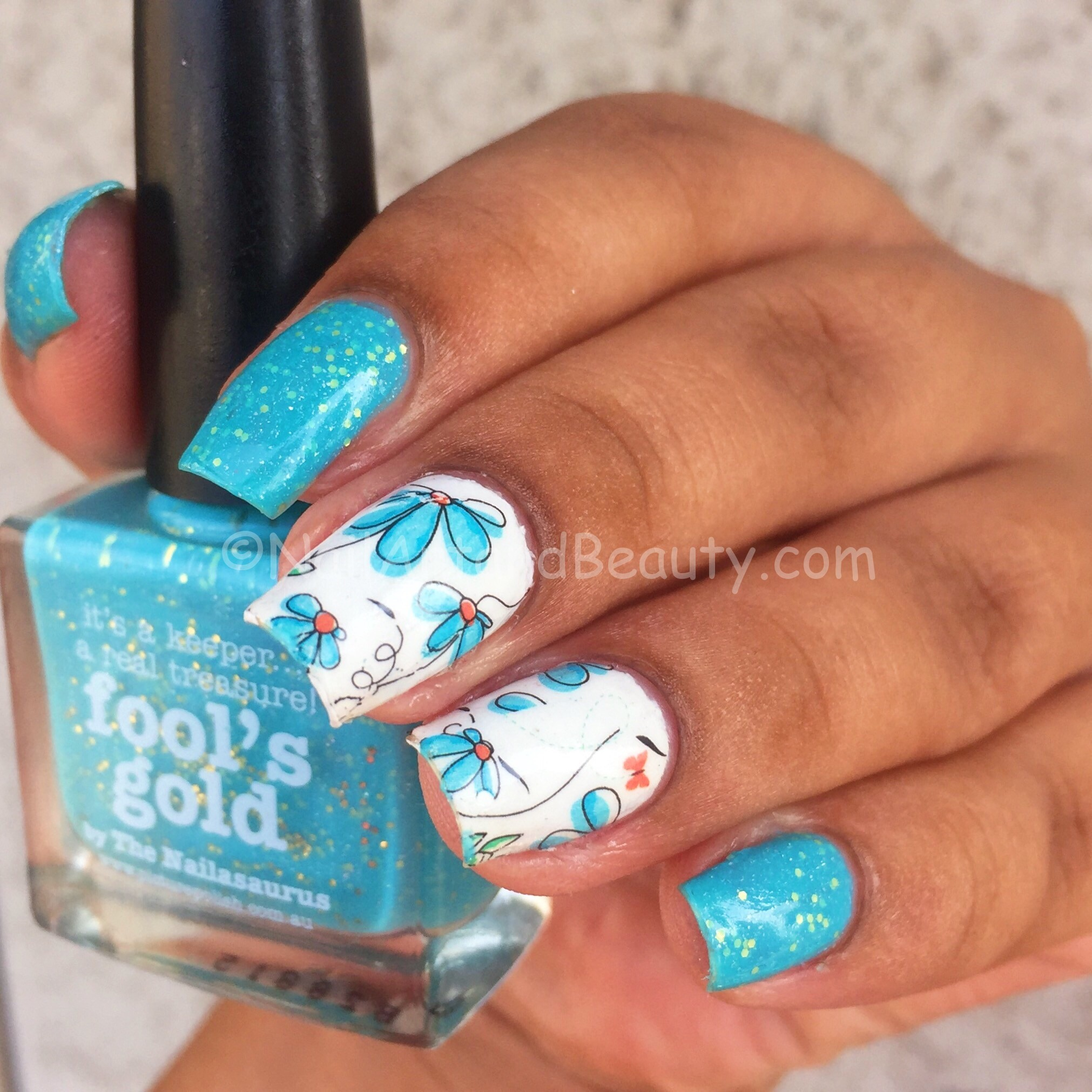 Water Decal Mani with PP Fools Gold