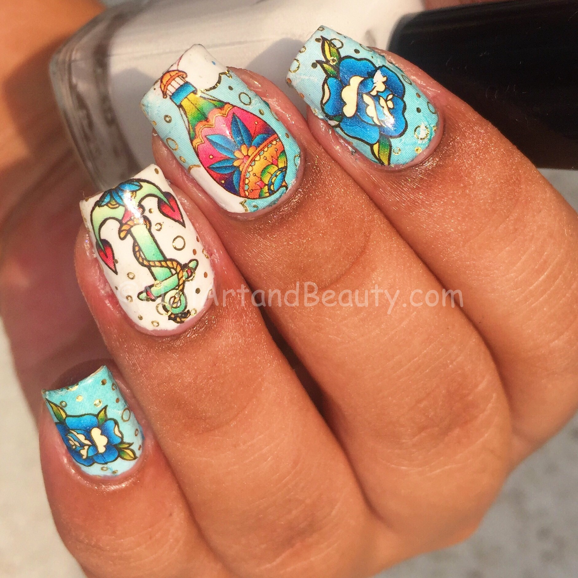 Anchor and Hot Air Baloon Nails