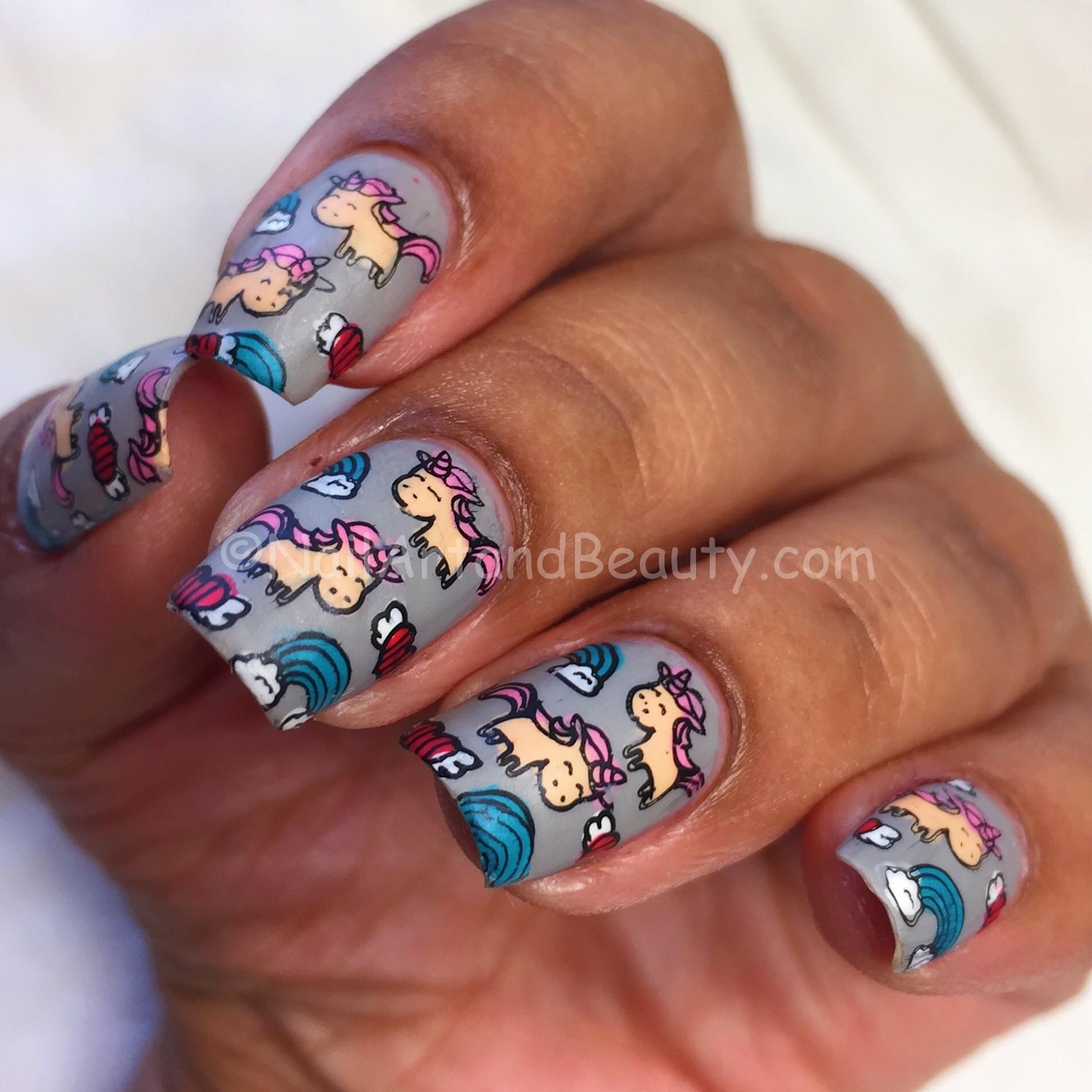 Unicorn and Rainbow Mani