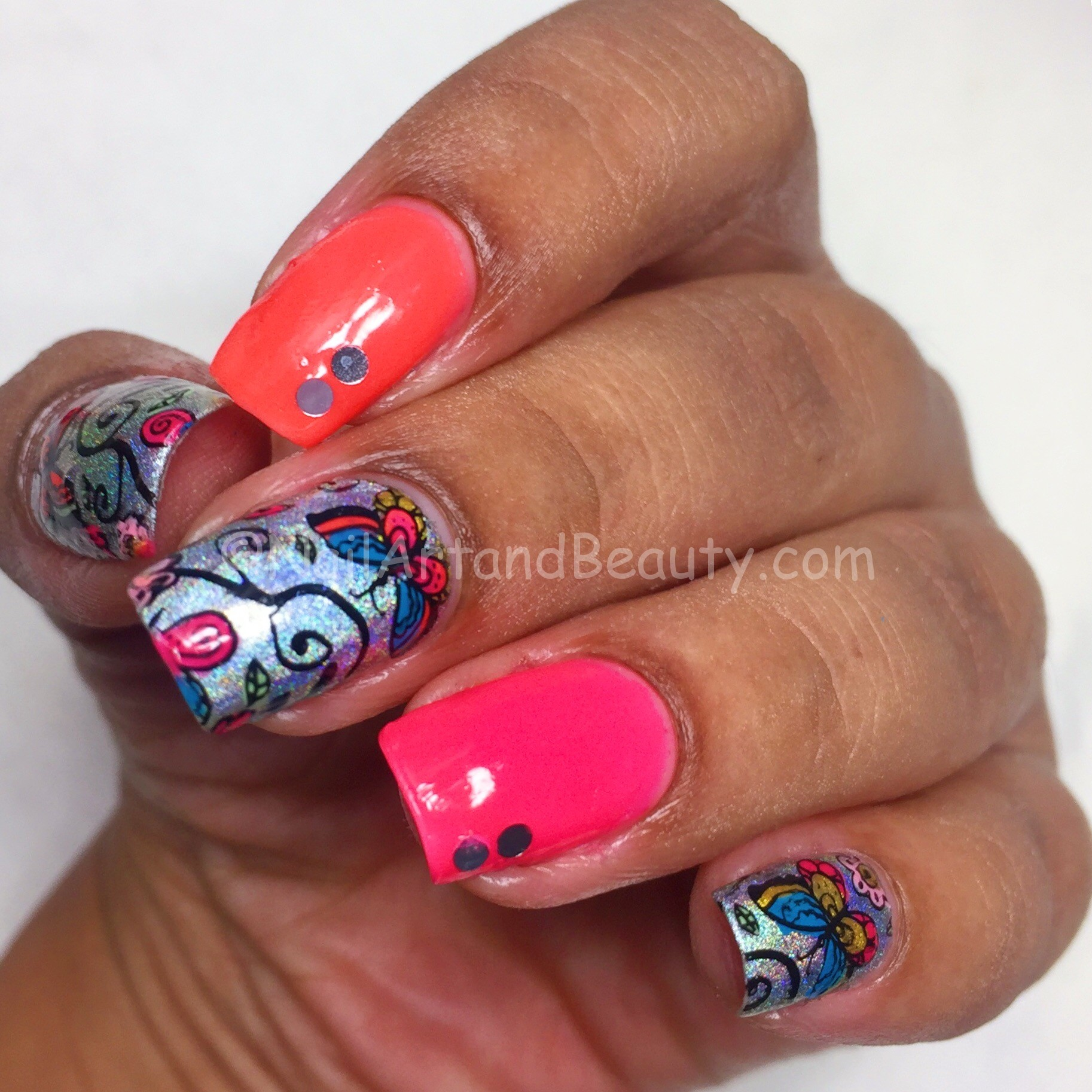 Colorful Butterflies Mani