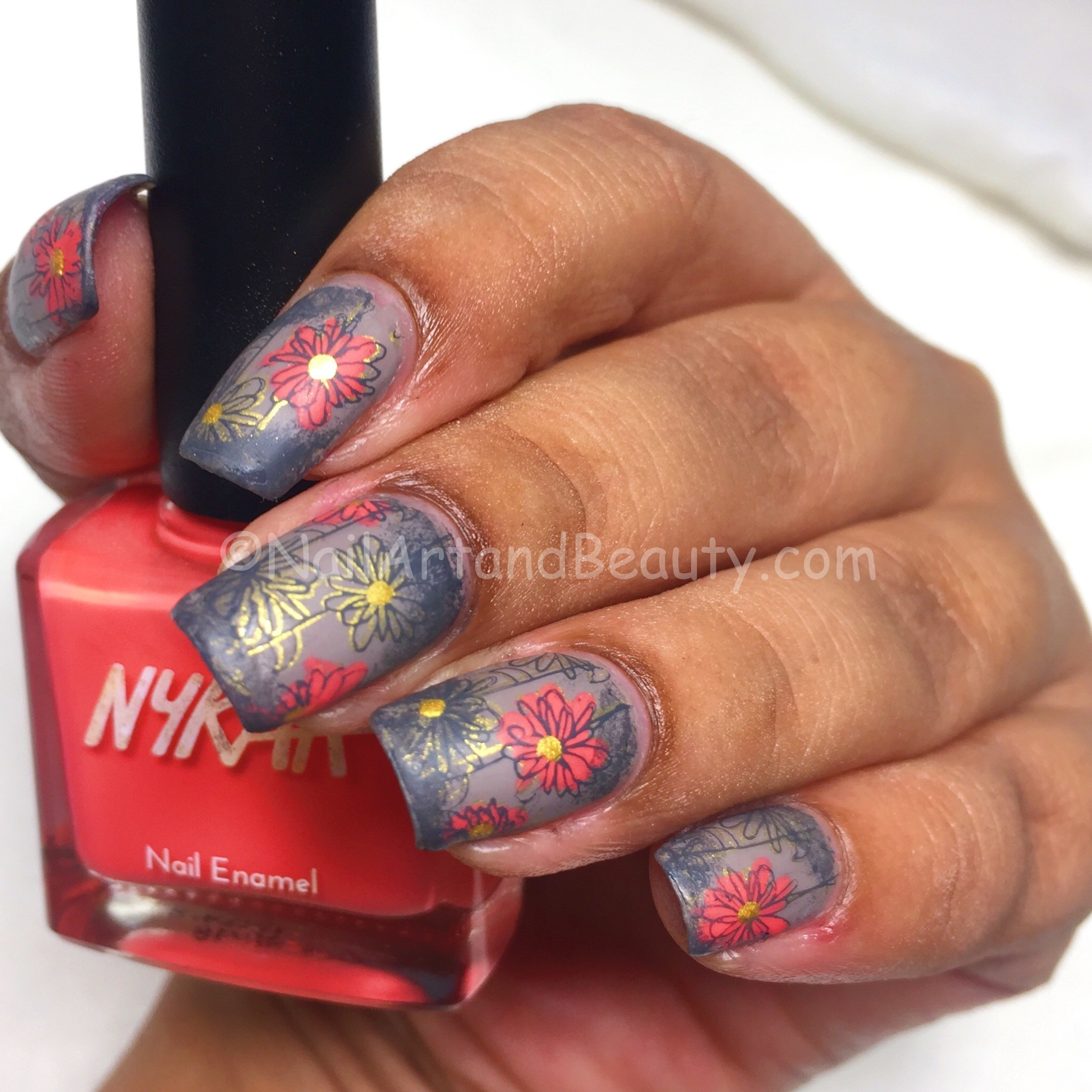 Coral Florals on Taupe Mani
