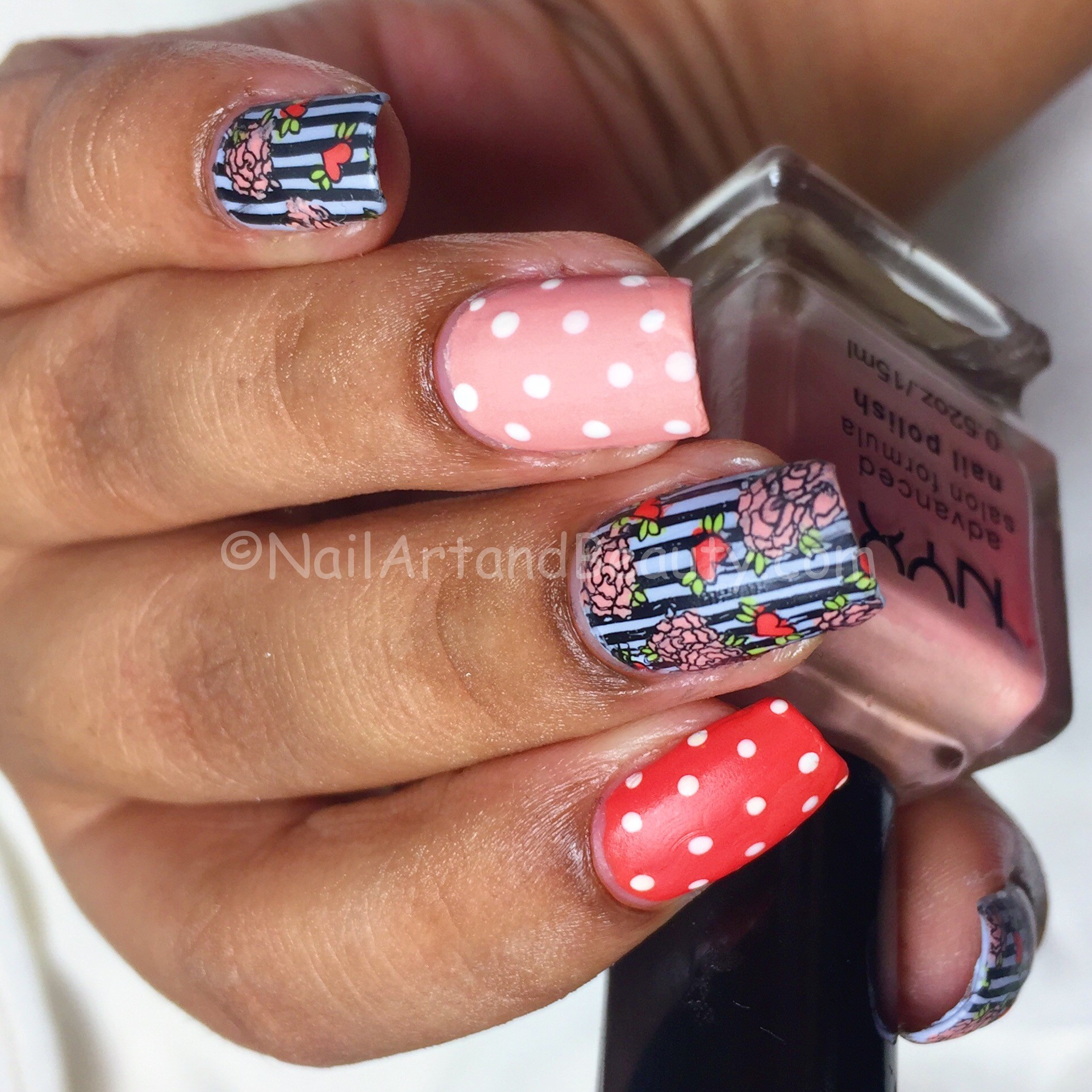 Stripes and Roses Mani